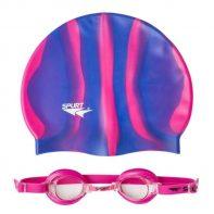 Plavecká čiapka+okuliare ZEBRA 1100 AF 14 PINK + MI 7 - 11-7-003