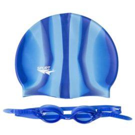 Plavecká čiapka a okuliare ZEBRA SPURT SET SIL-20 AF BLUE + MI 10