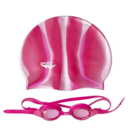 Plavecká čiapka a okuliare ZEBRA SPURT SET SIL-20 AF PINK + MI 3