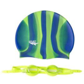 Plavecká čiapka a okuliare ZEBRA SPURT SET SIL-20 AF L.GREEN + MI 4